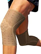 Sparthos Knee Compression Sleeves by (Pair) – Support for Sports, Running, Joint, Knee Pain Relief – Knee Brace for Men and Women – Elder ACL PCL Bursitis Meniscus Tear Patella Runner Knee (Beige-XL)