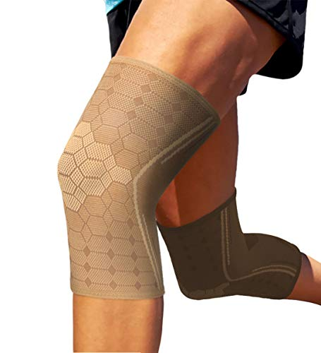 Sparthos Knee Compression Sleeves by (Pair) – Joint Protection and Support for Running, Sports, Knee Pain Relief – Knee Brace for Men and Women (Desert Beige, XX-Large)