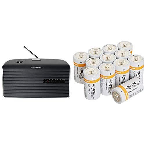 Grundig Music 60 Empfangsstarkes Radio im modernen Design grau & AmazonBasics Batterien Alkali, Typ C, 12Stück