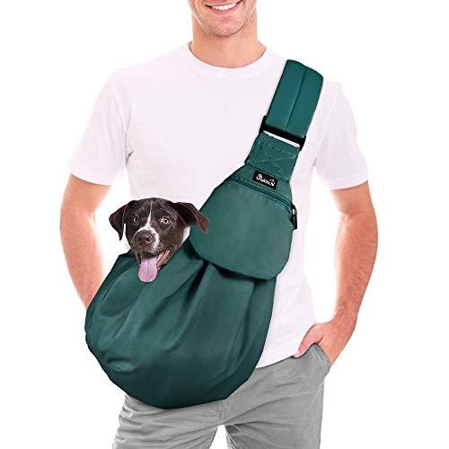 Nasjac Tragetuch Hund Katze, Verstellbarer Welpenkatze Hand frei Schlinge Hund Träger Einkaufstasche mit Frontgurt Sicherheitsgurt Verstellbarer Gepolsterter Schultergurt Draussen zum Spazierengehen