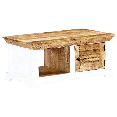vidaXL Raues Mangoholz Massiv Couchtisch mit 1 Tür 1 Fach Beistelltisch Wohnzimmertisch Kaffeetisch Sofatisch Holztisch Tisch Weiß Braun 90x50x40cm