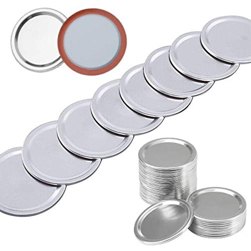 Vigorstar 36 Pack Caning Lids Regular Mouth, Mason Jar Caning Lids, Canning Jar Lids, Canning Lids Jar Flats Bulk, Mason Jar Canning Caps Seal Storage Metal Silver 70mm - 36Pcs Lids(No Bands)