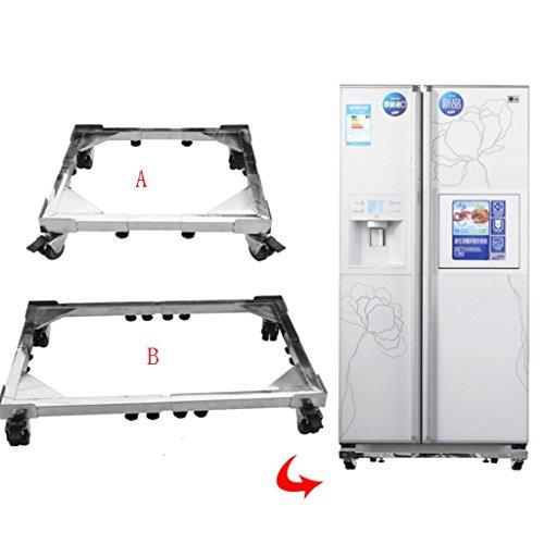 Chai jia Machine à Laver Amovible en Acier Inoxydable Taille de Base Support de réfrigérateur réglable avec Roues Resserrement (Taille : B)