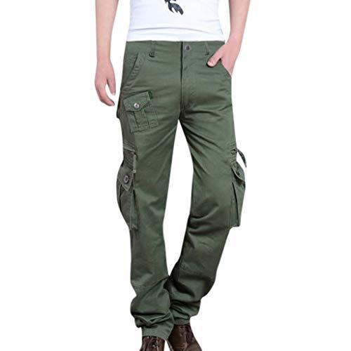 ZZBO Herren Outdoor Tactical Hose Baumwolle Cargo Hose Trousers mit Vielen Taschen für Jagd Wandern Camping Rangerhose Cargohose Lockere Arbeitshose Securityhose 9 Größen (Schwarz, Grün, Khaki)