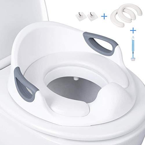 Asiento Inodoro Niños, DALMO DCTS03L Reductor WC ergonómico, Tapa WC con Reposabrazos, Deflector, Diseño Antideslizante, Ayuda para aprender a ir al baño, Blanco