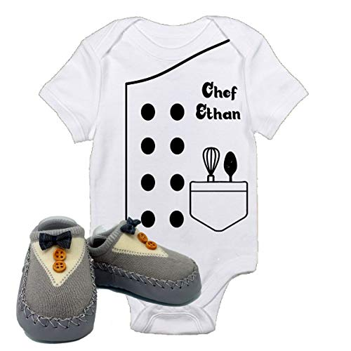 Chef Ethan Outfit Future Halloween Onsies with Grey Shoes Best Baby Gift Idea (0-3 Months with Shoes)