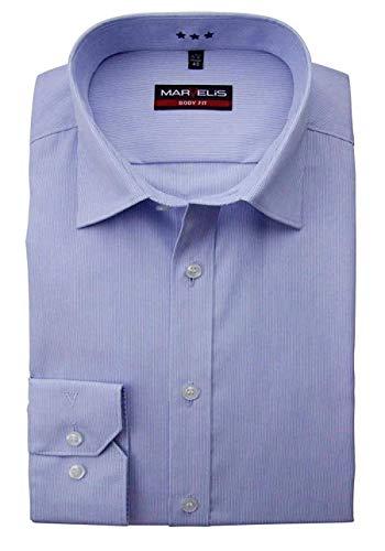 Marvelis Body Fit Hemd Langarm Bügelleicht Streifen Mittelblau Größe 41