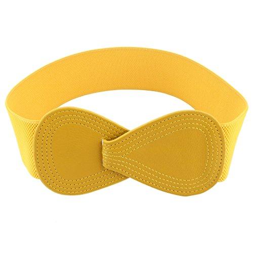 Allegra K Interlock 8-shaped Faux Leather Buckle Elastic Belt for Lady Yellow Fit Waist Girth:25'/63.5cm-37'/94cm