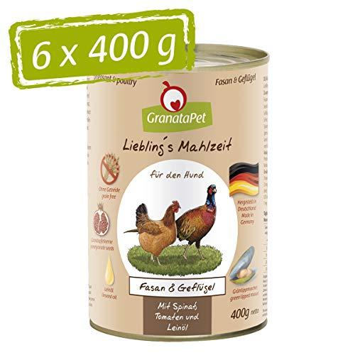 GranataPet Liebling's Mahlzeit Fasan & Geflügel, Nassfutter für Hunde, Hundefutter ohne Getreide & ohne Zuckerzusätze, Alleinfuttermittel, 6 x 400 g
