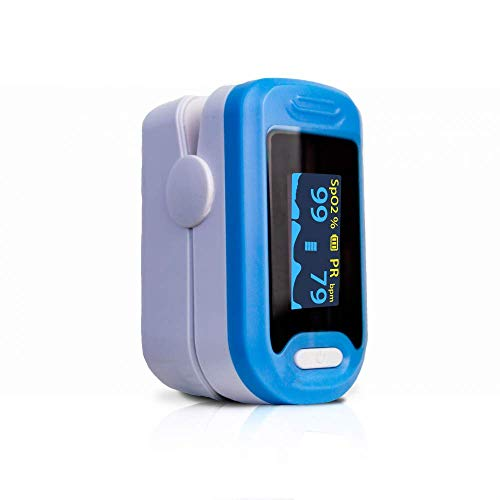 Mobiclinic, PY04, Pulsioxímetro de dedo, Oxímetro de pulso para dedo, Oxímetro dedo digital, Preciso y fiable, No invasivo, Pulsómetro con pantalla LED, Frecuencia cardíaca, Medición SpO2, Color azul