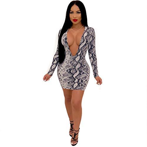 Gyan Sexy Lencería Mujeres Vestido Piel de Serpiente impresión Sexy Cuello en v Rendimiento Etapa Disfraz,Silver,XXL