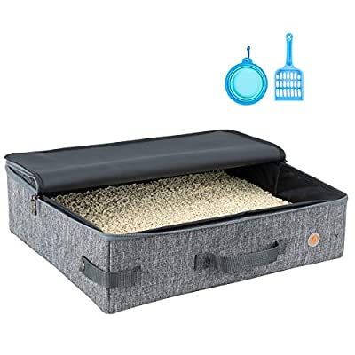 petisfam Portable Cat Travel Litter Box for Large Cats with 1 Scoop and 1 Collapsible Bowl