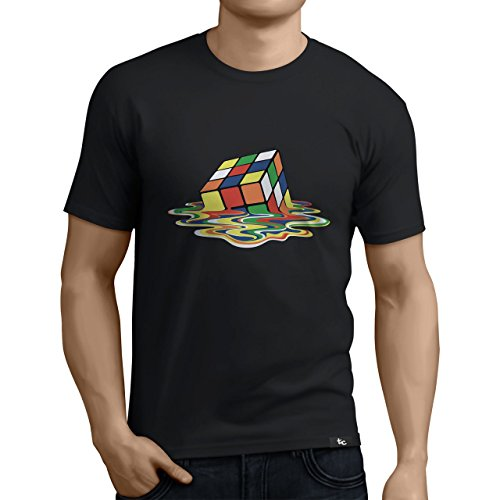 Tuning Camisetas - Camiseta Divertida para Hombre - Modelo derretido, Color Negra- Talla L (0136-Negra-derretido-L)