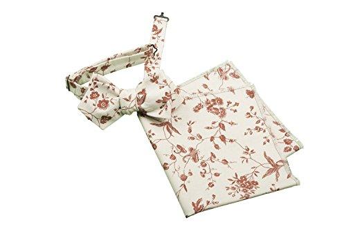 Old Fashion Sartoria Ensemble de nœud papillon ajustable à nouer soi-même et de pochette carrée en coton Rouge/fleurs/Multicolore Taille unique
