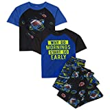 The Children's Place Boys Mornings and Football 4-Piece Pajamas, Edge Blue, XXL(16)
