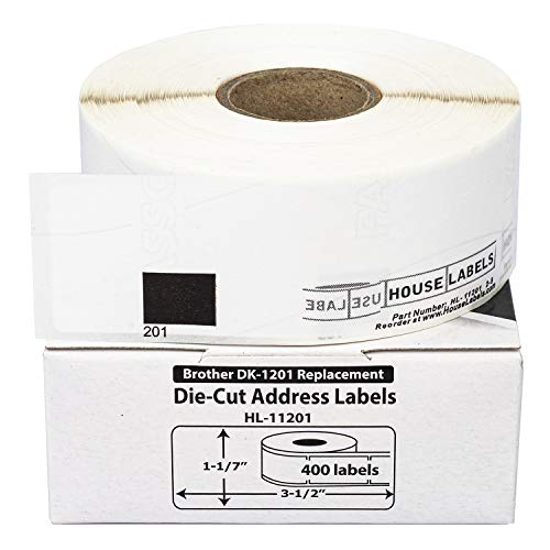 "HOUSELABELS Compatible with DK-1201 Replacement Roll for Brother QL Label Printers; 400 Removable Adhesive Address Labels; 1-1/7"" x 3-1/2"" (29mm90mm) - 1 Roll"