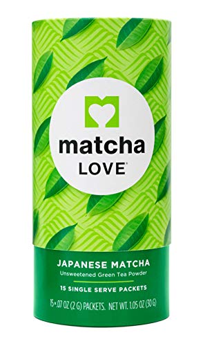 Matcha Love Japanese Matcha Unsweetened Green Tea Powder, 15 Single Serve Packets, 1.05 Ounces