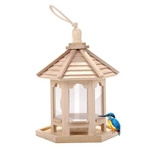 Comedero para Pájaros de Madera, Comedero para Pájaros Silvestres Colgante en Forma de Casa, Estación de Alimentación para Pájaros, Contenedor de Alimento para Pájaros para Jardín y Al Aire Libre