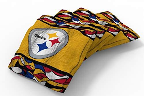 "PROLINE 6"" x 6"" NFL Cornhole Bean Bag Set (4 Pack) - Millennial Wood Stripe Design"