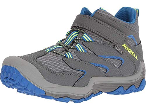 Merrell Boys' Chameleon 7 Access Mid A/C WTRPF Hiking Shoe, Grey/Blue, 5 Medium US Big Kid