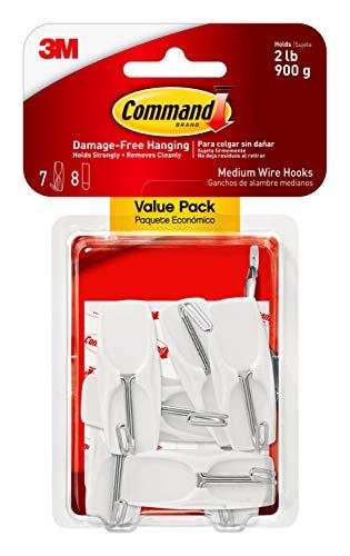 Command Medium Wire Toggle Hook Value Pack, White, 7-Hooks, 8-Strips, Organize Damage-Free