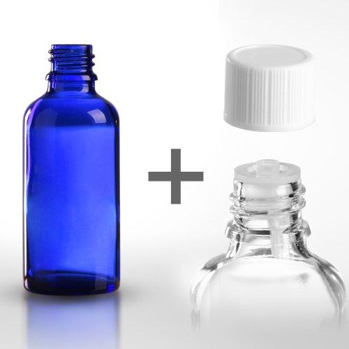 5 x Blauglasflaschen / Tropferflaschen 50 ml inkl. Standard-Schraubverschluss DIN 18