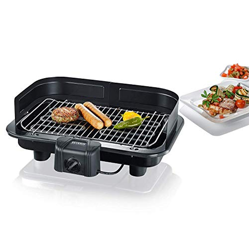 SEVERIN Gril Barbecue, Gril de table, Surface du Gril (41x26cm), 2.500W, PG 2791, Noir