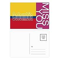 コロンビア国の旗の名 ポストカードセットサンクスカード郵送側20個ミス