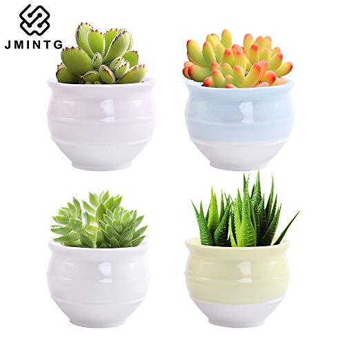 JMINTG 3.26 Inch Ceramic Succulent Pot,Cute Cylinder Shape Series,Cylinder Cactus Pot Planter,Flower Pot,Pottery Bonsai Pot,Ceramic Flowing Glaze Base Serial Set,with Drainage Hole(4 in Set)
