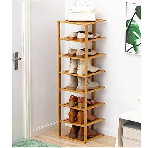 8 Niveles Rack De Zapatos De Bambú,Estante De Zapatos Free Standing Sostiene 8 Pares De Zapatos,Torre De Zapatos Estrecha,Organizador Moderno De Zapateros Para Entryway-Color de madera 27x25x127cm