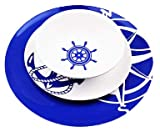 XYZ Boat Supplies – Navy Blue and White Nautical Design - Boat, Pool, RV - 12 Piece Dishware Set- Plates and Bowls - Perfect Boating, Sailing, The Pool, The Beach and More - Melamine Material