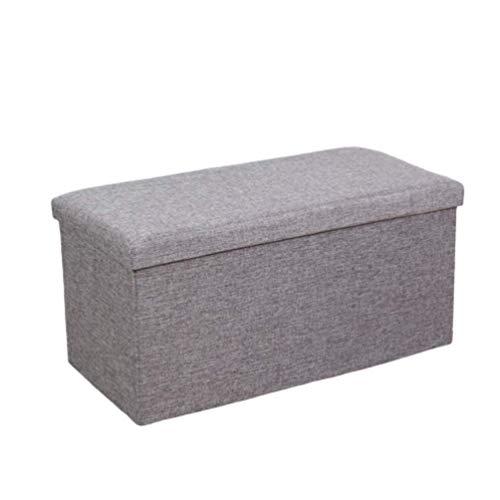 Ducomi Puf cubo plegable reposapiés, taburete contenedor de mezcla de lino, baúl contenedor para juegos, sillón contenedor para salón, decoración italiana (gris, 48 x 31 x 31 cm)