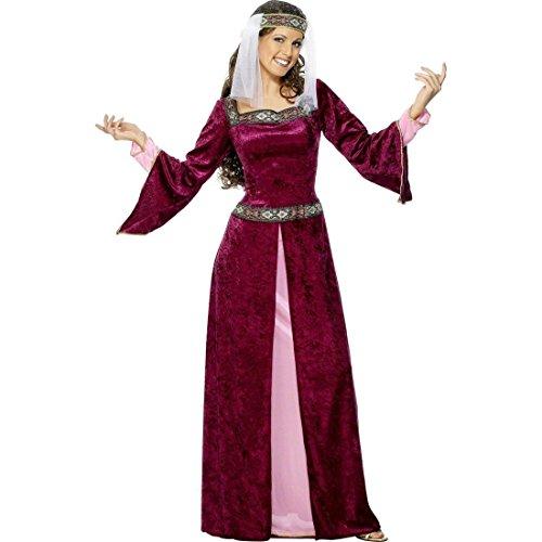 NET TOYS Burgfräulein Marian Kostüm Mittelalterkostüm Burgunderrot M 40/42 Mittelalterliche Königin Prinzessin Kleid Robin Hood Lady Kostüm Hofdame Burgdame Burgfrau