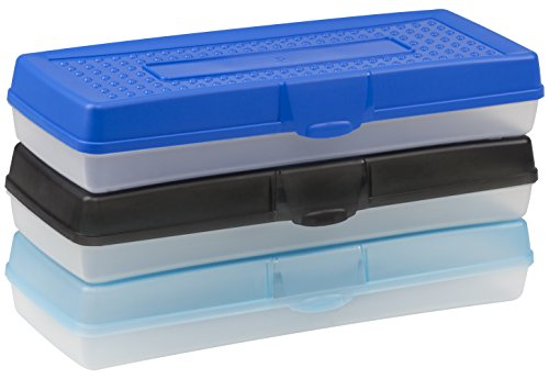 Storex Stretch Pencil Box, 5.6 x 13.4 x 2.52 Inches, Assorted Colors, Color Assortment Will Vary, Case of 12 (61620U12C)