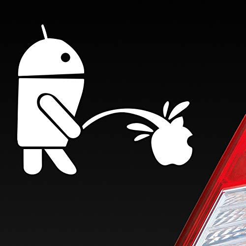 Auto Aufkleber in deiner Wunschfarbe Android vs Apple für iPhone Galaxy Fans 12x10 cm Autoaufkleber Sticker Folie