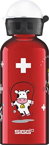 SIGG Funny Cows Kinder Trinkflasche (0.4 L), schadstofffreie Kinderflasche mit auslaufsicherem Deckel, federleichte Trinkflasche aus Aluminium