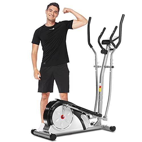 ANCHEER Crosstrainer, Magnetische Elliptische Trainer Maschines mit Pulsfrequenzgriffen und LCD-Monitor Smooth Quiet Driven für Zuhause Fitnessstudio Büro Training Max.350lb