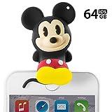 Disney ディズニー キャラクター iPhone USB メモリー フラッシュドライブ Apple MFi 認証 64GB USB3.0 データ保存 小型 キャップ落ちない シリコンカバー グッズ フィギュア プレゼント/ミッキーマウス
