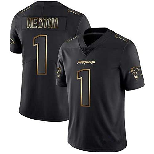 1# Carolina Panthers Cam Newton Herren American Football Trikot, Rugby Trikot Leistung Outdoor Sport Atmungsaktive Uniform-Black-XXXL(195~200)
