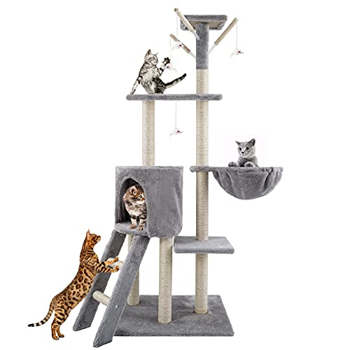 EARTH FRIENDLY 54.7' Tall Cat Tree Stable Cat Tower Multi-Level Cat Condo with Plush Perch & Toys Cat Climbing Stand with Sisal-Covered Scratching Post Cat Furniture Cat Play House for Kitten Indoor
