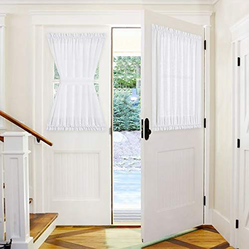 PONY DANCE Front Door Curtain  52 x 40 inches White Sheer Faux Linen Look Short Drape Elegant Rod Pocket Voile Window Blind for Kitchen Metal Door with Tie Back 1 PC