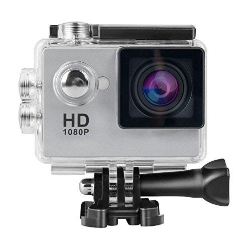 Topjoy 1080P Full HD 2.0 inch LCD Screen Waterproof Sports Action Camera Cam DV 12MP DVR Helmet Camera Sports DV Camcorder (Silver)