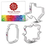 Ann Clark Cookie Cutters Texas Summer 3 Piece Set with Recipe Booklet, Large Texas, Large Mason Jar, Square Plaque