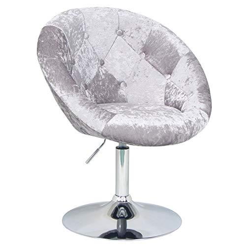 SVITA Havanna Premium Sessel Lounge Clubsessel Drehsessel Samt-Optik glänzend Retro Silber Bar-Stuhl Cocktailsessel
