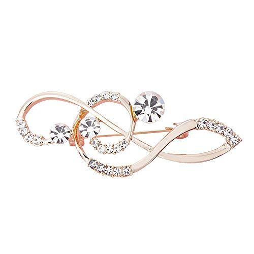 Ludage Exquisito Nota aleación Broche Diamante Ramillete Broche Vestido Accesorios Collar Aguja