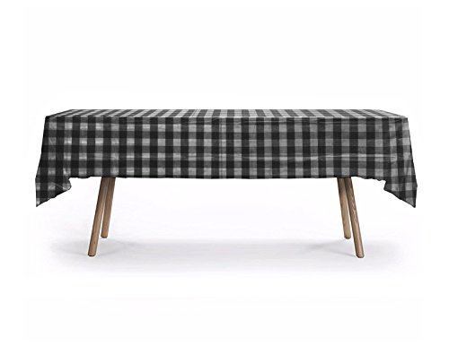 12 CT Premium 54x108 inch Plaid Rectangle Plastic Tablecloth Waterproof Disposable Party Event Decoration Heavy Duty Table Cover (Black,Plaid)