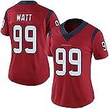 HOUWENJ American Football Jersey Téxāns # 99 Watt Rugby Jersey, Ventiladores Camiseta Bordado Secado Rápido Jersey Rugby Sudadera De Manga Corta Red-XS