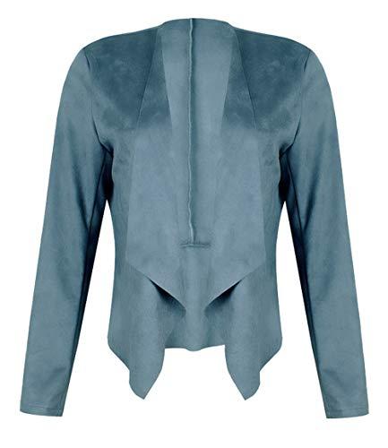 Dawwoti Dames suède blazer mantel voorzijde open revers casual overcoat