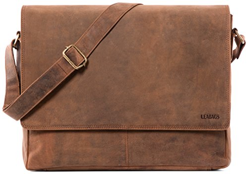 LEABAGS Oxford Umhängetasche Leder Laptoptasche 15 Zoll aus echtem Büffel-Leder im Vintage Look, (LxBxH): ca. 38x10x31 cm - Fox
