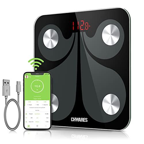 CHWARES Pèse Personne Impédancemètre, Charge USB, Balance Connectée, Balance Pèse Personne, 23 Données(IMC/Taux de Graisse/Poids Osseux, etc), 1000 Utilisateurs, pour Android et iOS